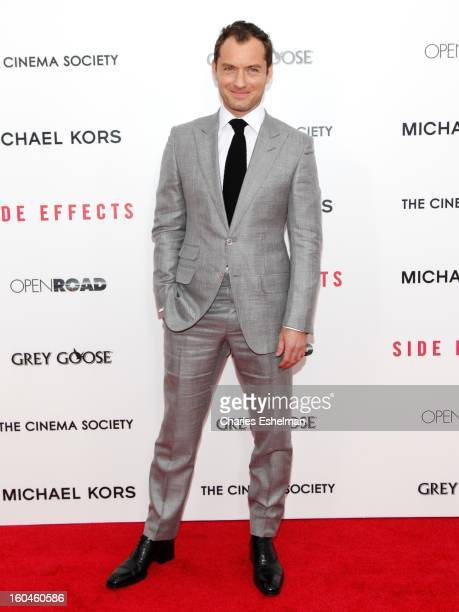 Actor Jude Law attends the Open Road The Cinema Society Michael Kors premiere of 'Side Effects' at AMC Loews Lincoln Square on January 31 2013 in New...