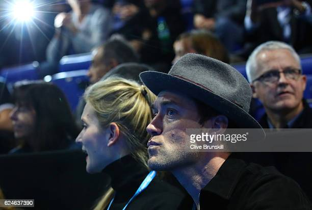 Actor Jude Law attends the Singles Final between Novak Djokovic of Serbia and Andy Murray of Great Britain at the O2 Arena on November 20 2016 in...