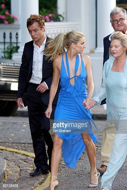Actor Jude Law His Girlfriend Sienna Miller And Her Mother Arriving At A Celebrity Party Hosted By Broadcaster Sir David Frost In Chelsea