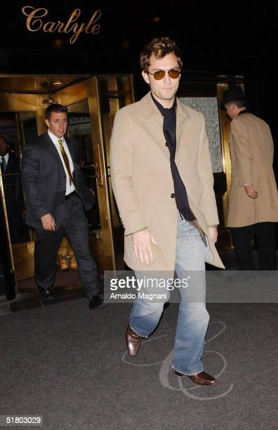 Actor Jude Law leaves the Carlyle Hotel November 29 2004 in New York City Law is in New York to promote his new film 'Closer'