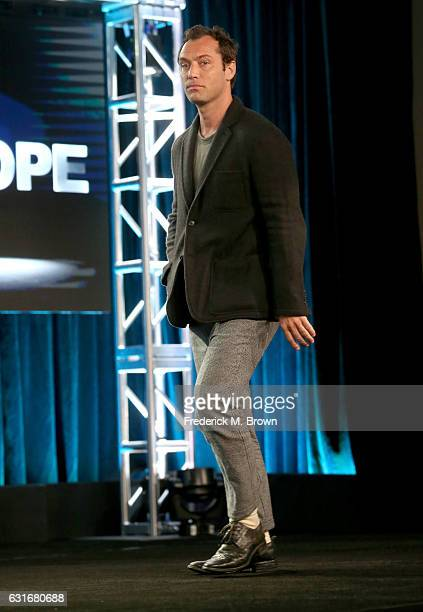 Actor Jude Law of the series 'The Young Pope' speaks onstage during the HBO portion of the 2017 Winter Television Critics Association Press Tour at...