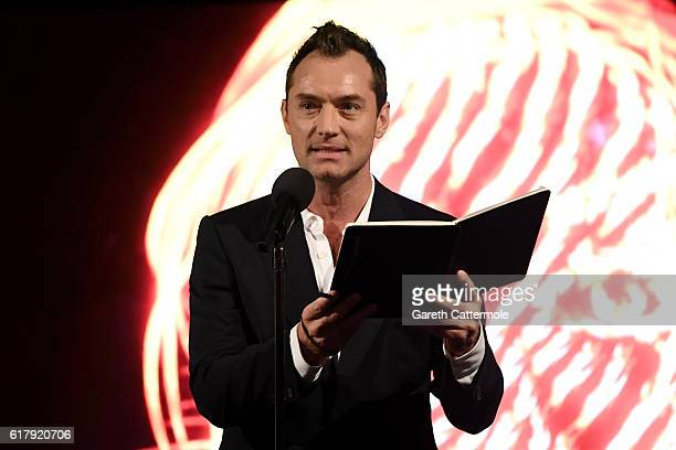Actor Jude Law on stage in the grand finale of The Life RX Live a digital first improvised 'ontheroad' livestreamed performance starring Jude to...
