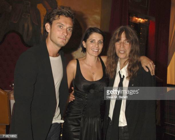 Actor Jude Law Sadie Frost and musician Patti Smith attend the Robert Mapplethorpe 'Still Moving and Lady' exhibition after party at the Dorchester...