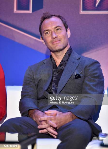 Actor Jude Law speaks onstage during Marvel Studios' Captain Marvel Global Junket Press Conference at The Beverly Hilton Hotel on February 22 2019 in...