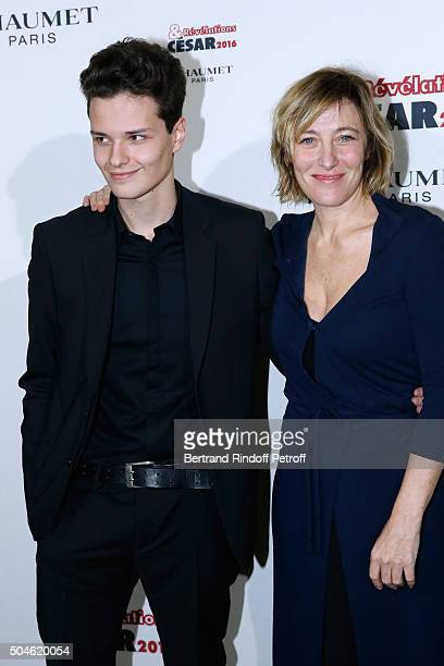 Actor Jules Benchetrit nominated for 'Asphalte' and his sponsor Valeria BruniTedeschi attend the 'Cesar Revelations 2016' Photocall at Chaumet...