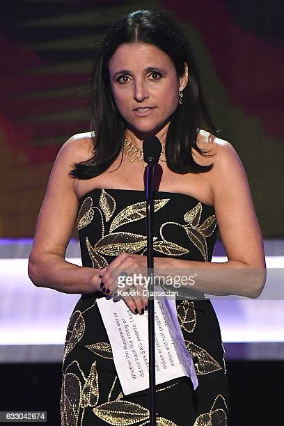 Actor Julia LouisDreyfus accepts the award for Best Femal Actor in a Comedy Series for Veep onstage during the 23rd Annual Screen Actors Guild Awards...