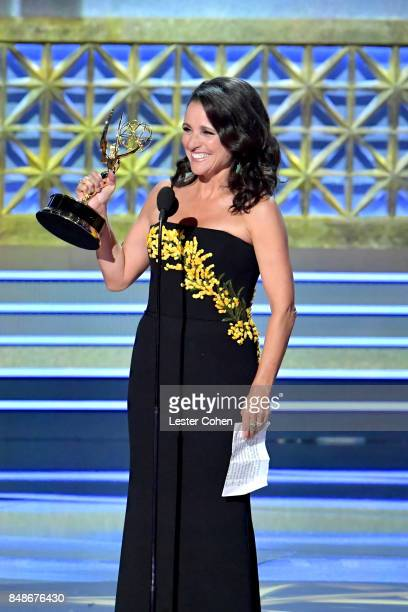 Actor Julia Louis-Dreyfus accepts the Outstanding Lead Actress in a Comedy Series for 'Veep' onstage during the 69th Annual Primetime Emmy Awards at...