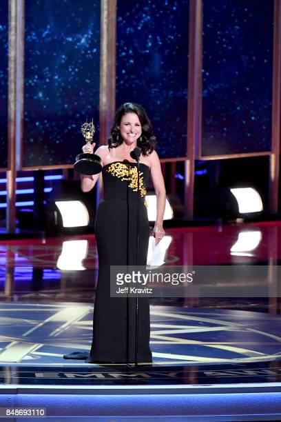 Actor Julia Louis-Dreyfus accepts the Outstanding Lead Actress in a Comedy Series award for 'Veep' onstage during the 69th Annual Primetime Emmy...