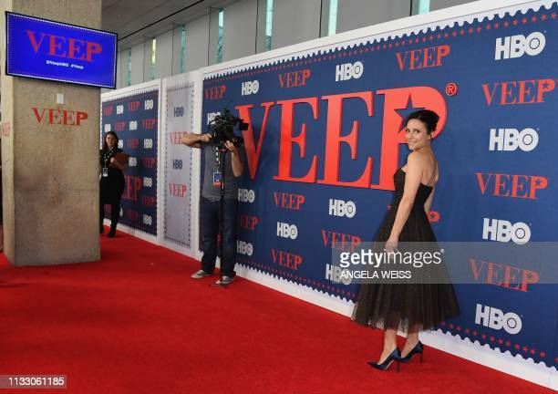 """Actor Julia Louis-Dreyfus attends the premiere of the seventh and final season of HBO's """"Veep"""" at Alice Tully Hall at the Lincoln Center in New York..."""