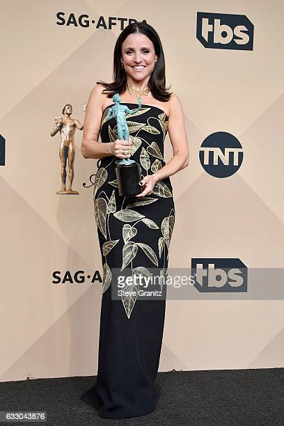 Actor Julia Louis-Dreyfus, winner of the Outstanding Female Actor in a Comedy Series award for 'Veep,' poses in the press room during the 23rd Annual...