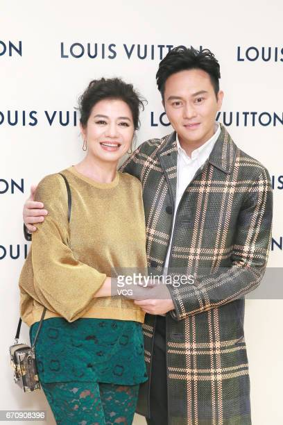 Actor Julian Cheung Chilam and actress Cherie Chung attend the opening ceremony of Louis Vuitton flagship store on April 20 2017 in Hong Kong China