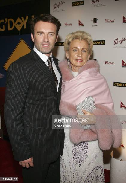 Actor Julian McMahon and mother Lady Sonia McMahon attend the Penfolds Gala Black Tie Dinner the kick off event for G'Day LA Australia Week 2005 at...