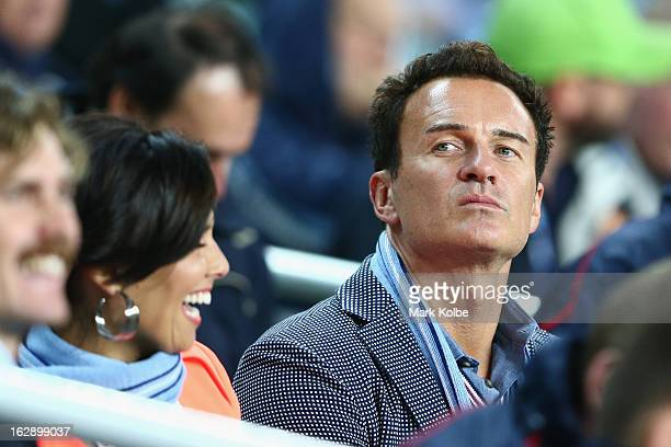 Actor Julian McMahon watches on from the players box during the round three Super Rugby match between the Waratahs and the Rebels at Allianz Stadium...