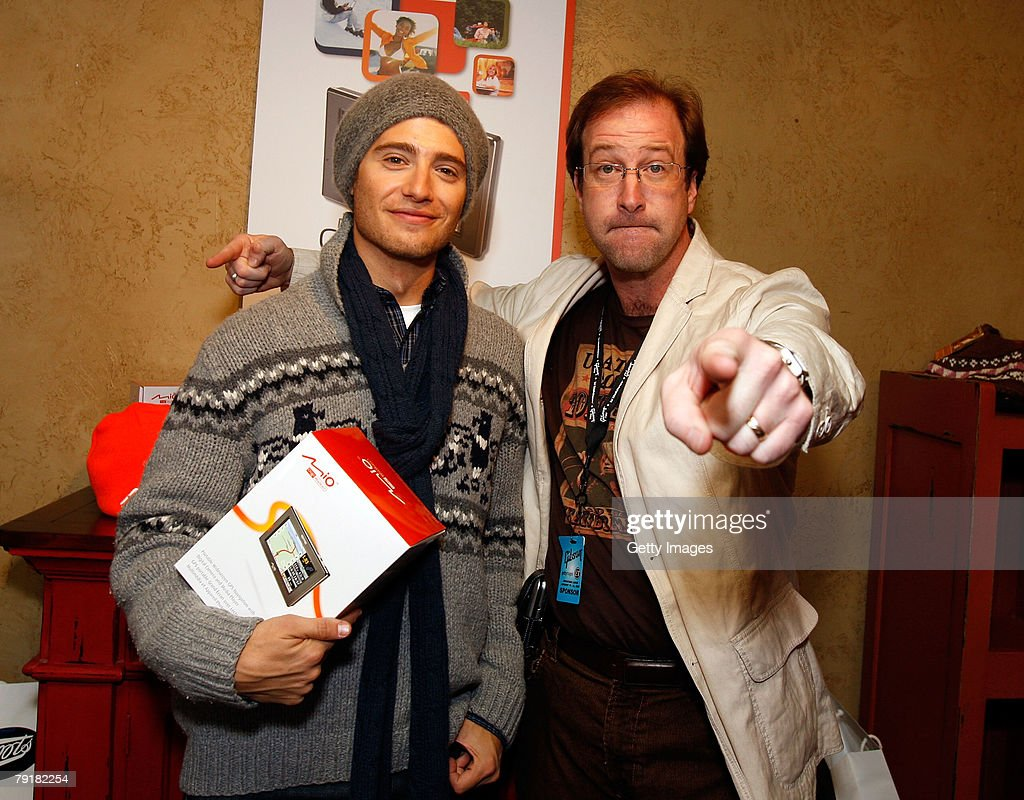 Actor Julian Morris (L) poses with the Mio display at the Gibson Guitar celebrity hospitality lounge held at the Miners Club during the 2008 Sundance Film Festival on January 23, 2008 in Park City, Utah.