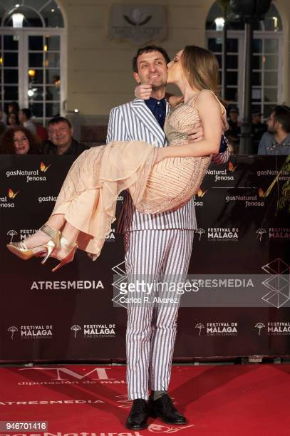 Actor Julian Villagran and actress Ester Exposito attend 'No Dormiras' premiere at the Cervantes Theater on April 15 2018 in Malaga Spain