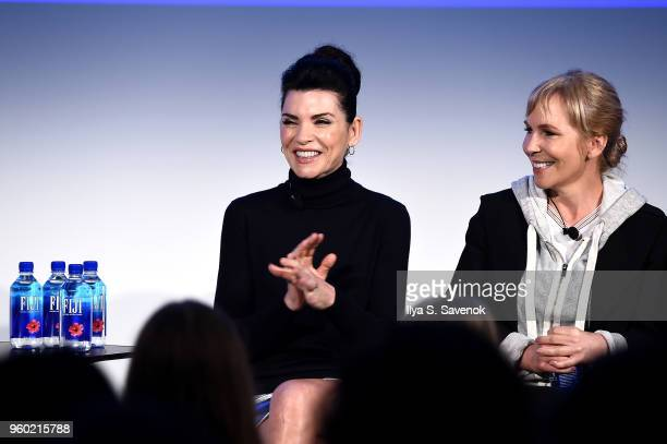 Actor Julianna Margulies and writer Marti Noxon speak onstage at Vulture Festival Presented By ATT at Milk Studios on May 19 2018 in New York City