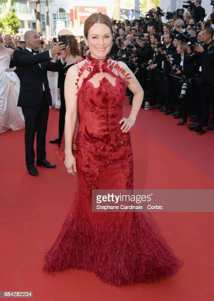 Actor Julianne Moore attends the Ismael's Ghosts screening and Opening Gala during the 70th annual Cannes Film Festival at Palais des Festivals on...