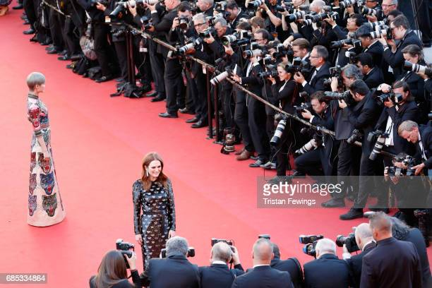 Actor Julianne Moore attends the 'Okja' premiere during the 70th annual Cannes Film Festival at Palais des Festivals on May 19 2017 in Cannes France