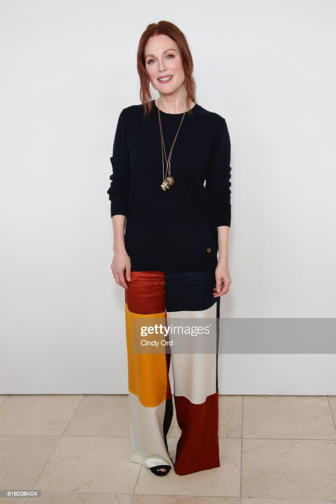 Actor Julianne Moore attends the Tory Burch Fall Winter 2018 Fashion Show during New York Fashion Week at Bridge Market on February 9, 2018 in New York City.