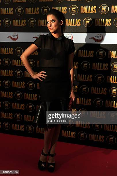 US actor Julie Gonzalo arrives on the red carpet to attend the launch of the new 10part series of US television show Dallas in London on August 21...