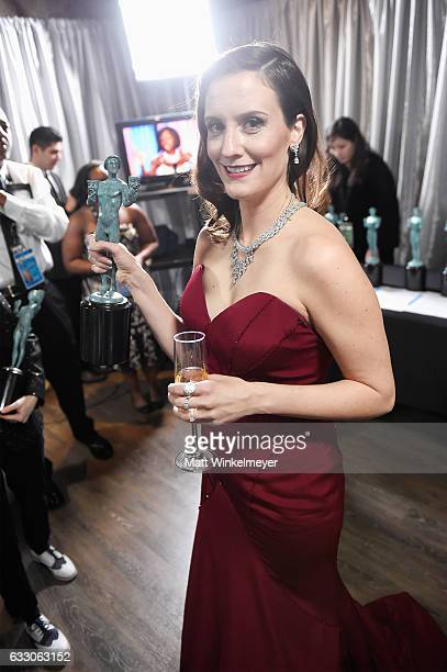 Actor Julie Lake winner of the Outstanding Ensemble in a Comedy Series award of 'Orange Is the New Black' poses with award during The 23rd Annual...