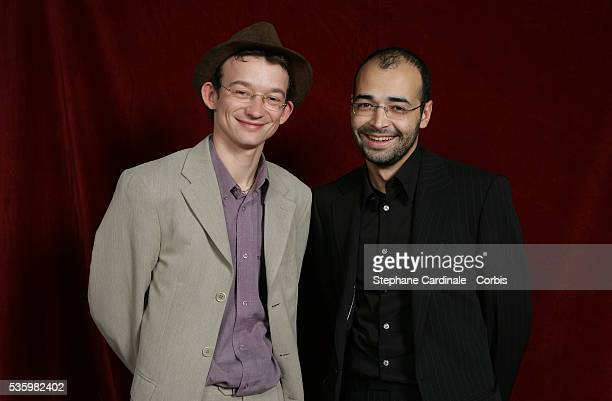 Actor Julien Courbey and director Djamel Bensalah in the studio during the Jeunes Espoirs nominees presentation ahead of the 2006 Cesar Awards