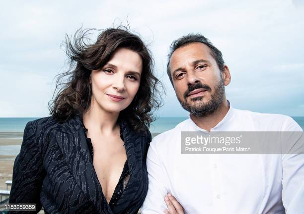 Actor Juliette Binoche and film director Safy Nebbou are photographed at the 33rd Cabourg Film Festival for Paris Match on June 14 2019 in Cabourg...