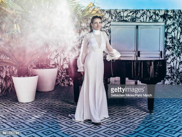 Actor Juliette Binoche wearing a dress by Chloe and Chopard jewellery is photographed for Paris Match on May 19 2017 in Cannes France