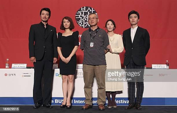 Actor Jung EuiGap actress Park SeJin director Kim DongHyun actress Lee EunJoo and actor Jeon KwangJin attend the Closing Film 'The Dinner' press...