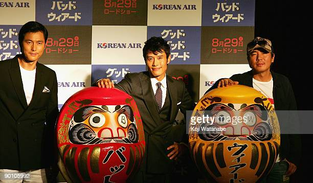 Actor Jung Woosung and Actor Lee Byunghun and director Song Kangho attend the Good Bad Wierd stage greeting at Shinjuku Wald 9 on August 27 2009 in...