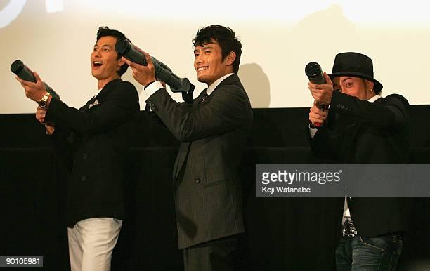 Actor Jung Woosung and Actor Lee Byunghun and Japnese singer's Ryo of orange range attend the Good Bad Wierd stage greeting at Shinjuku Wald 9 on...
