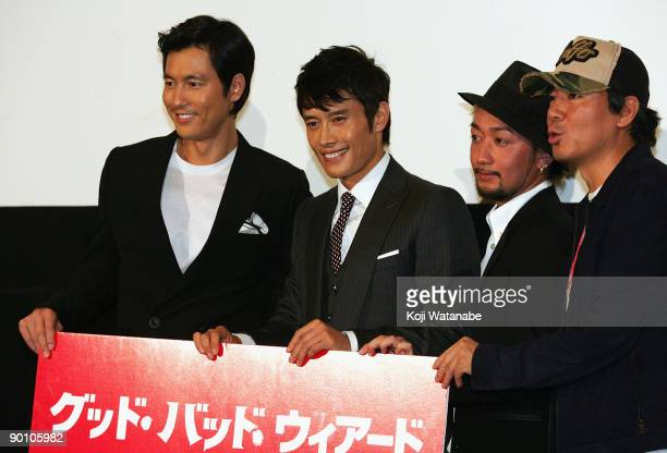 Actor Jung Woosung and Actor Lee Byunghun and Japnese singer's Ryo of orange range and director Song Kangho attend the Good Bad Wierd stage greeting...