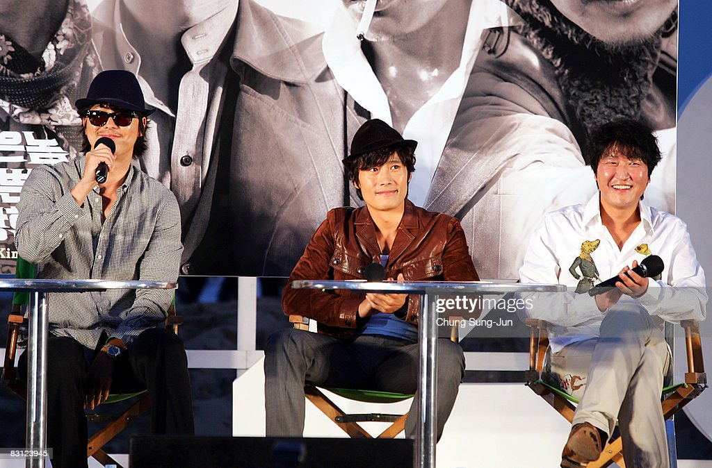 Actor Jung Woo-Sung, Lee Byung-Hun and Song Kang-Ho attend their Open Talk of 'The Good The Bad The Weird' at the 13th Pusan International Film Festival on October 4, 2008 in Busan, South Korea. The biggest film festival in Asia showcases 315 films from 60 countries.