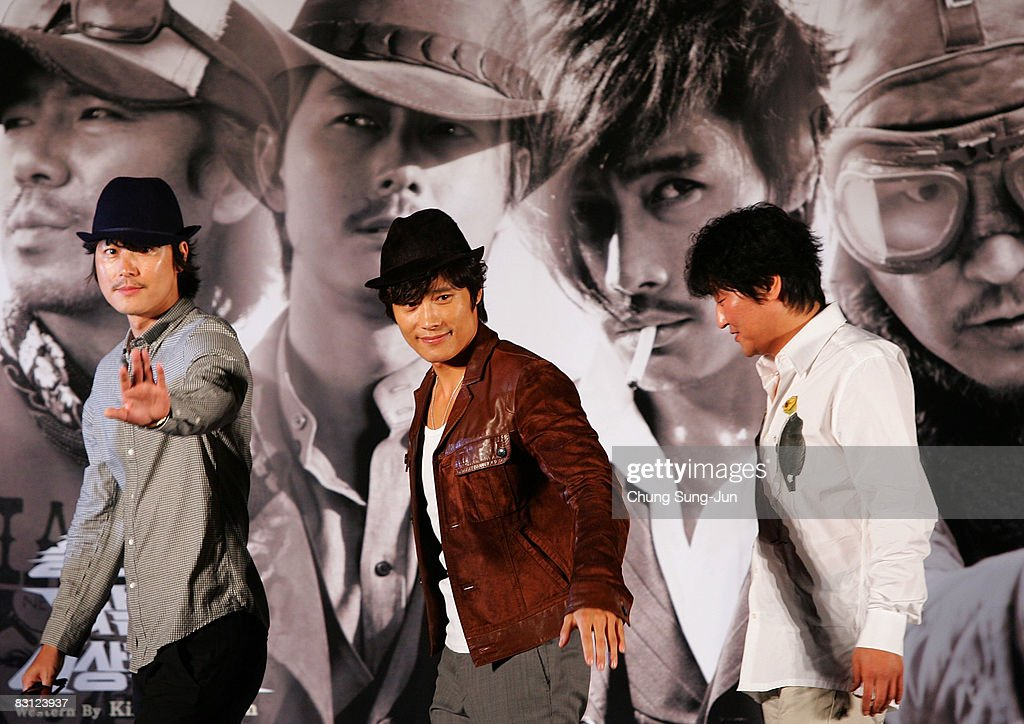 Actor Jung Woo-Sung, Lee Byung-Hun and Song Kang-Ho poses after their Open Talk of 'The Good The Bad The Weird' at the 13th Pusan International Film Festival on October 4, 2008 in Busan, South Korea. The biggest film festival in Asia showcases 315 films from 60 countries.