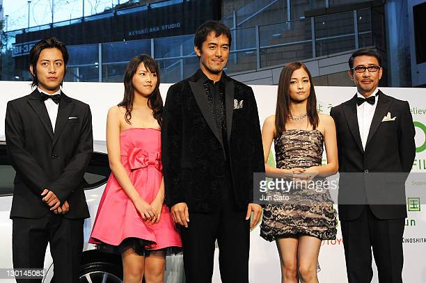 Actor Junpei Mizobata actress Seika Taketomi actor Hiroshi Abe actress Meisa Kuroki and actor Kiichi Nakai attend the 24th Tokyo International Film...