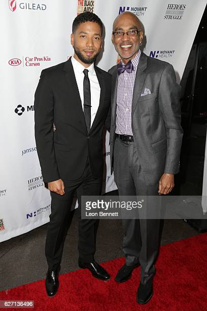 Actor Jussie Smollett and Executive Director of the Black AIDS Institute Phil Wilson arrives at the Heroes In The Struggle Gala at Director's Guild...