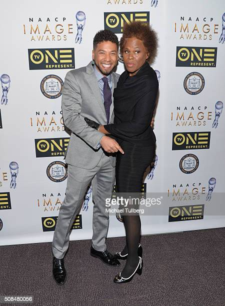 Actor Jussie Smollett and his mother Janet Smollett attend the 47th NAACP Image Awards nontelevised awards ceremony at Pasadena Conference Center on...