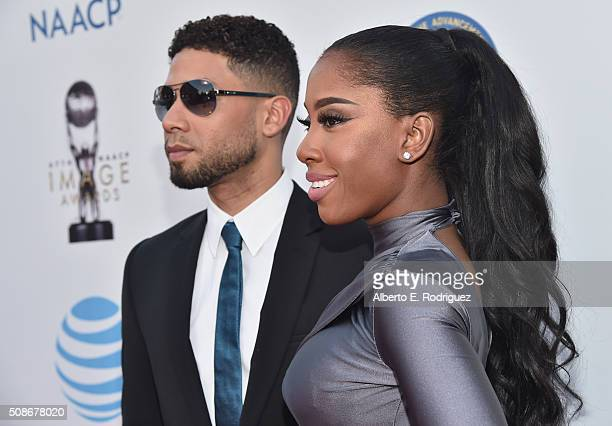 Actor Jussie Smollett and Sevyn Streeter attend the 47th NAACP Image Awards presented by TV One at Pasadena Civic Auditorium on February 5 2016 in...
