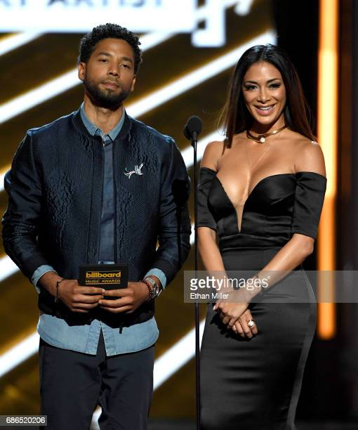 Actor Jussie Smollett and singer Nicole Scherzinger present an award onstage during the 2017 Billboard Music Awards at TMobile Arena on May 21 2017...