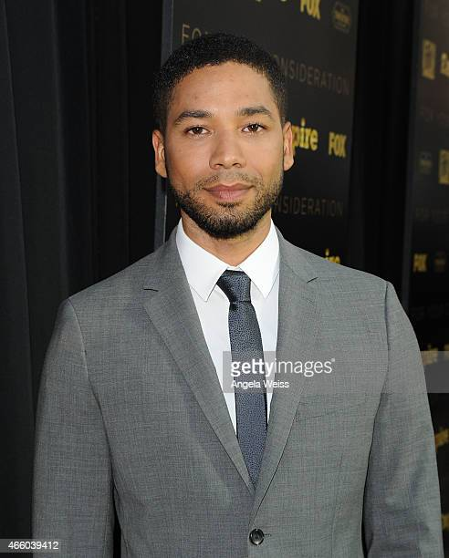 Actor Jussie Smollett arrives at Fox's Empire ATAS Academy Event at The Theatre at The Ace Hotel on March 12 2015 in Los Angeles California