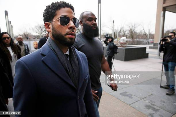 Actor Jussie Smollett arrives at Leighton Criminal Courthouse on March 14 2019 in Chicago Illinois Smollett stands accused of arranging a homophobic...