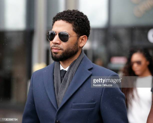 Actor Jussie Smollett leaves Leighton Criminal Courthouse after his court appearance on March 14, 2019 in Chicago, Illinois. Smollett stands accused...