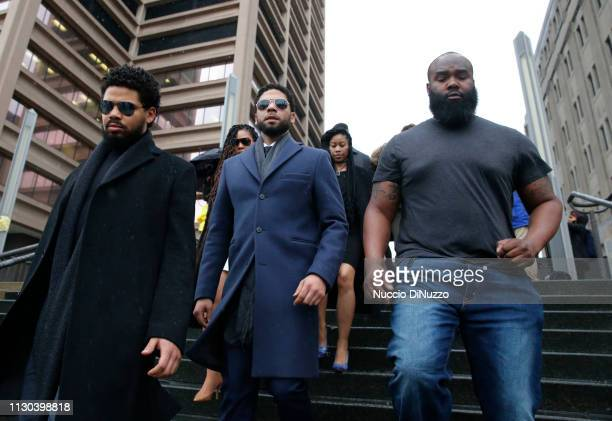 Actor Jussie Smollett leaves Leighton Criminal Courthouse after his court appearance on March 14 2019 in Chicago Illinois Smollett stands accused of...