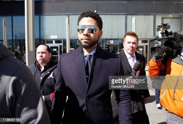 Actor Jussie Smollett leaves the Leighton Courthouse after his court appearance on March 26 2019 in Chicago Illinois This morning in court it was...
