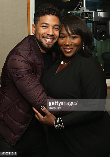 Actor Jussie Smollett poses for a photo with host of 'Bevelations' on SiriusXM's Radio Andy Bevy Smith during a visit to the SiriusXM Studios on...