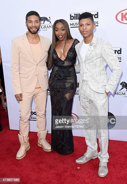 Actor Jussie Smollett singer Estelle and actor Bryshere Y Gray attend the 2015 Billboard Music Awards at MGM Grand Garden Arena on May 17 2015 in Las...