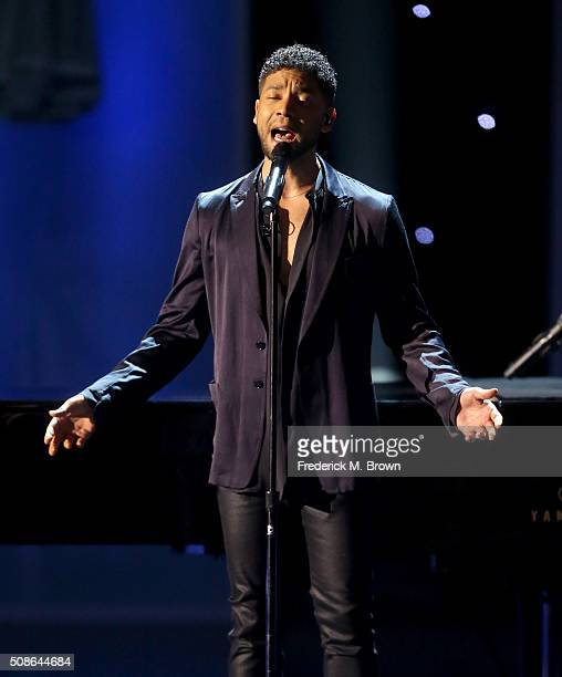 Actor Jussie Smollett sings onstage during the 47th NAACP Image Awards presented by TV One at Pasadena Civic Auditorium on February 5 2016 in...
