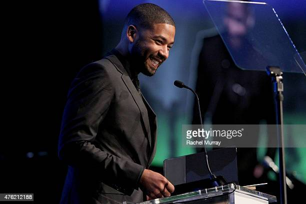 Actor Jussie Smollett speaks onstage during the Global Green USA 19th Annual Millennium Awards on June 6 2015 in Century City California