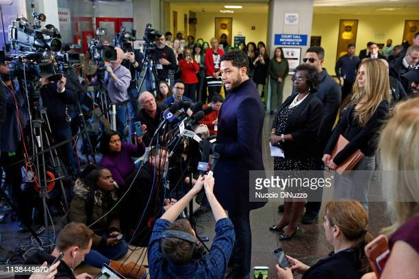 Actor Jussie Smollett speaks with members of the media after his court appearance at Leighton Courthouse on March 26 2019 in Chicago Illinois This...