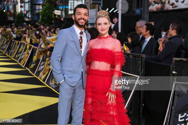 Actor Justice Smith and actress Kathryn Newton attend the world premiere of 'Pokemon Detective Pikachu' on April 25 2019 in Tokyo Japan